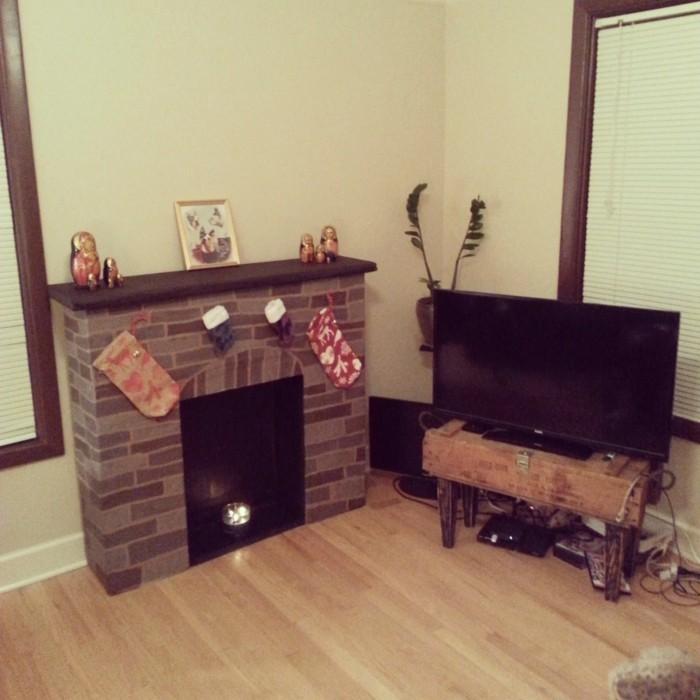 chemin e en carton d coration r chauffante le c ur. Black Bedroom Furniture Sets. Home Design Ideas