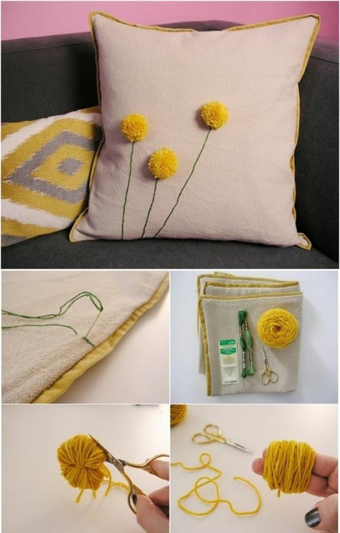 fleur-pompon-coussin-decoration-ciseau-aiguille