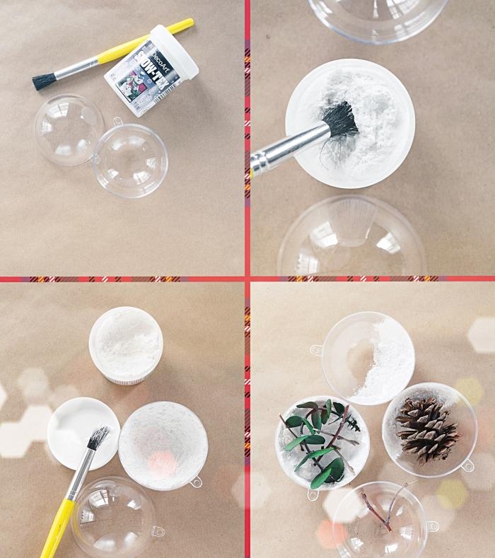 tutoriel bricolage facile, diy boule à neige avec pomme de pin, idée objet fait main en pomme de pin deco noel