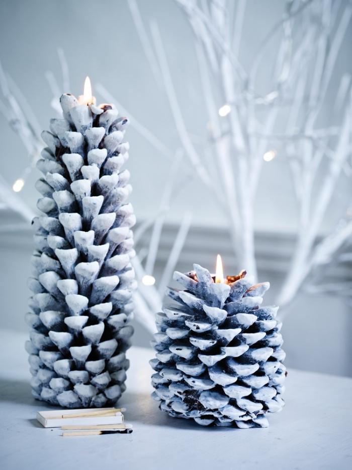 modèles de sapin de Noël diy, décoration avec pomme de pin noel, diy bougeoir en pomme de pin colorée en blanc