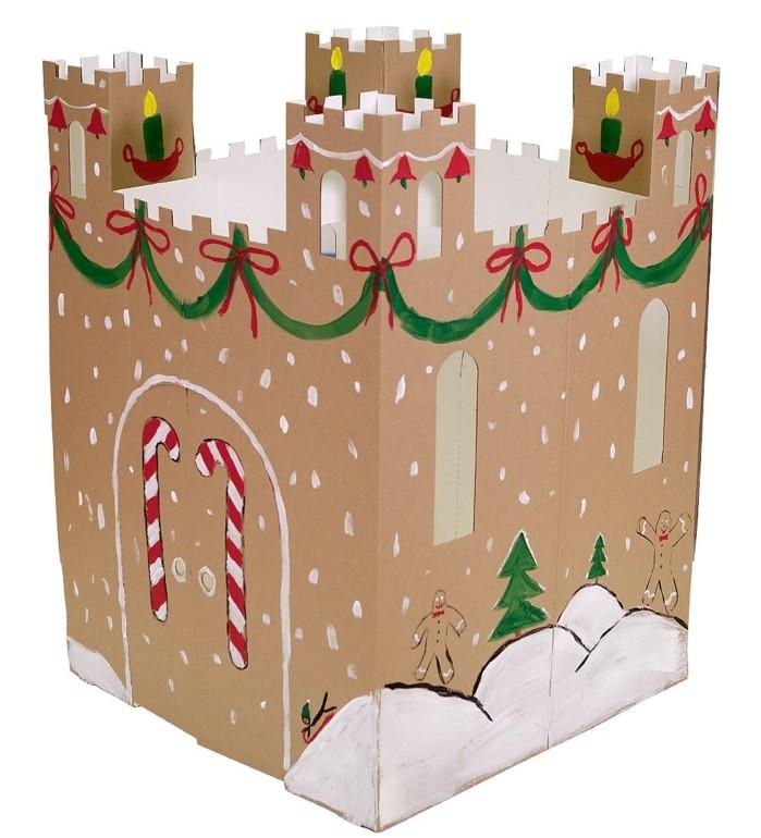 idee-pour-construire-une-cabane-en-carton-sympa-un-chateau-decore-pour-noel-pour-votre-petite-princesse