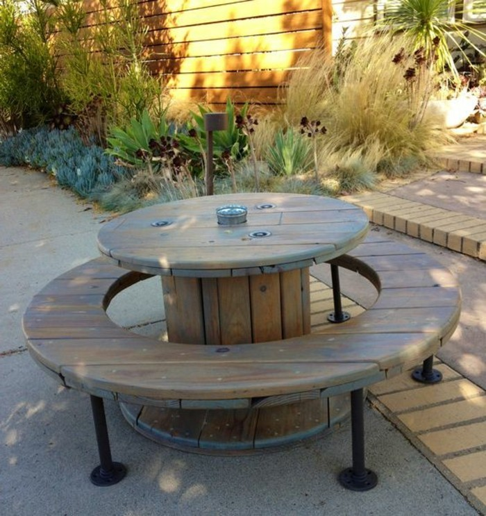 Comment faire une table en palette 6 idee recup avec touret bois comment customiser un touret for Idee table de jardin en palette