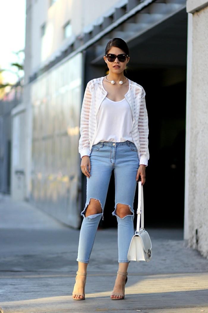 Comment customiser un jean 60 photos d 39 id es chic - Jean blanc troue ...