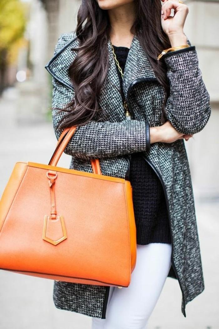 joli-manteau-femme-gris-chine-grand-sac-a-main-en-cuir