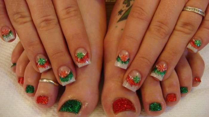 jolie-deco-ongle-noel-idee-nail-art-simple-candy-chouette-idee-dessin