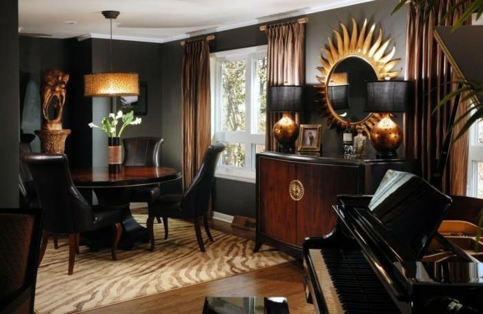 lampe-africaine-piano-miroir-soleil-chaise-en-cuir-zebre