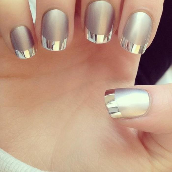 manucure-facile-francais-en-gris-clair-et-argent-elegant