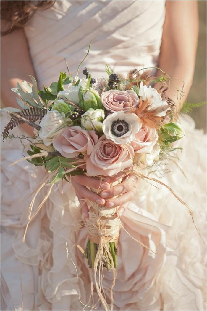 mariage-retro-chic-bouquet-simple-en-couleurs-chaudes-rose-blanche