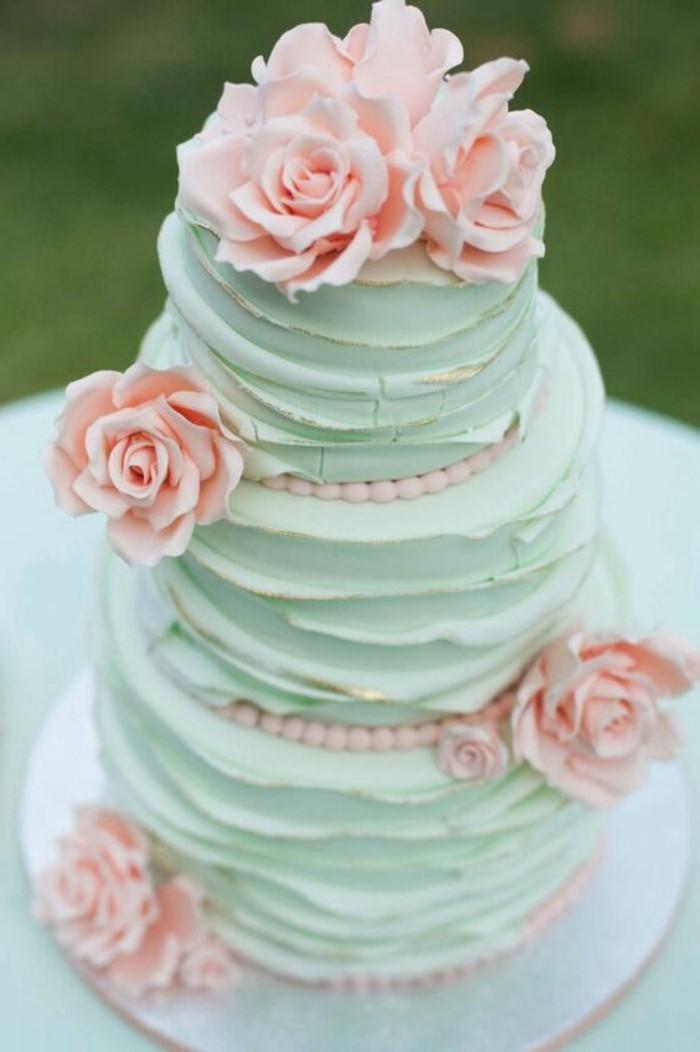 mariage-shabby-chic-tarte-vert-roses-sucrees-perles