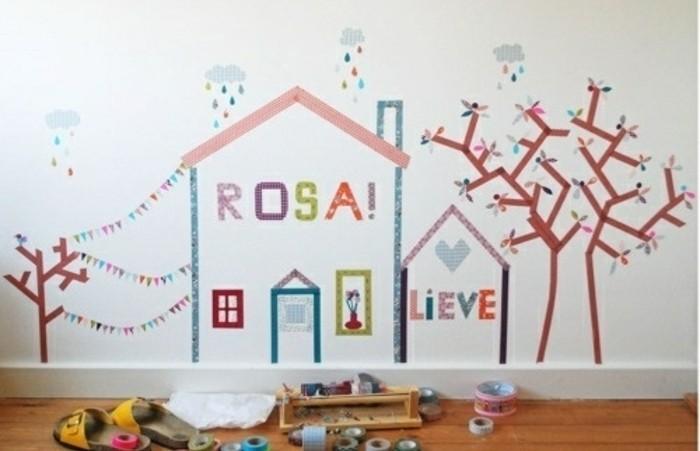 masking-tape-idees-pour-personnaliser-une-chambre-enfant-un-joli-paysage-joyeux-fait-a-l-aide-de-scotch-decoratif