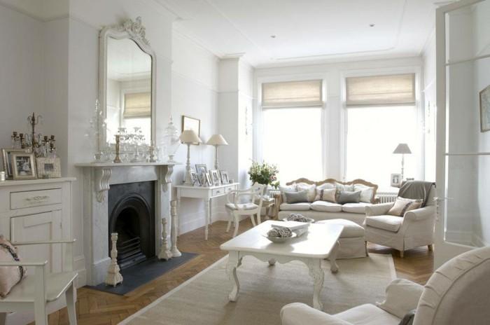 meubles-shabby-chic-cheminee-tapis-blanc-parquet-en-bois-fauteuils