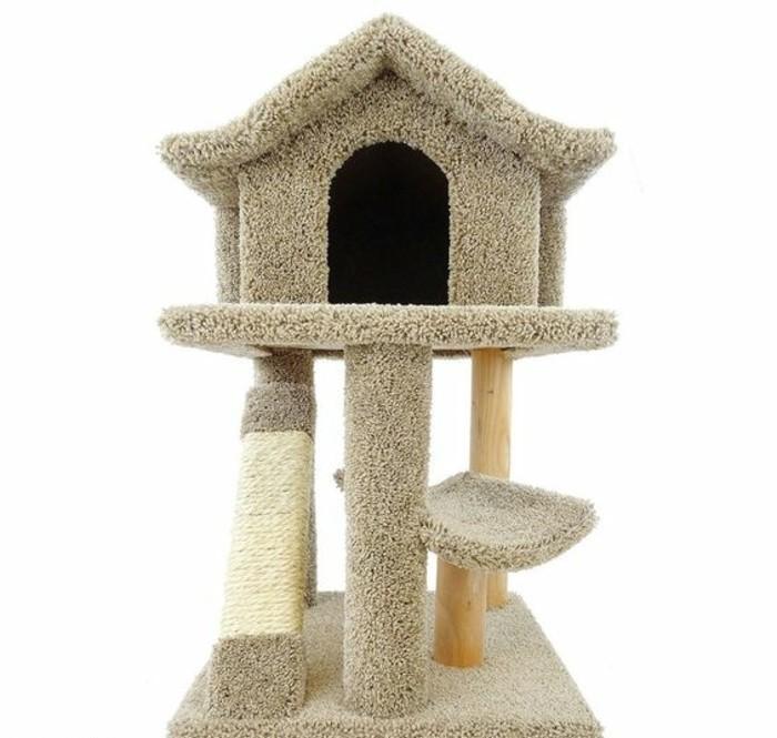 mobilier-pour-chat-maison-de-chat-couleur-grise