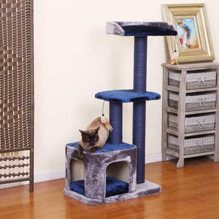 mobilier-pour-chat-perchoirs-pour-chats-arbre-pour-chat-bleu