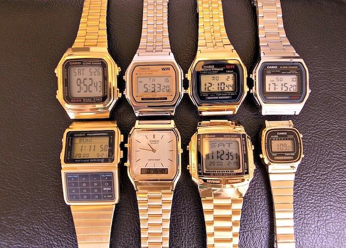montres casio collection vintage or argent bracelet metal retro digitale