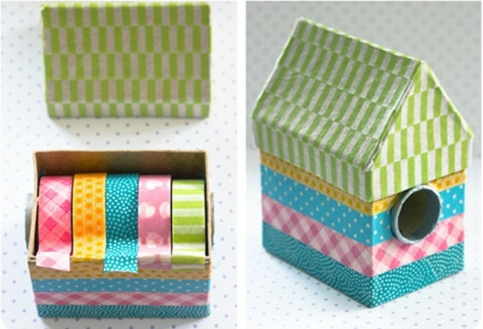 nichoir-decore-de-bandes-de-papier-washi-a-motifs-differents-deco-masking-tape-joyeuse