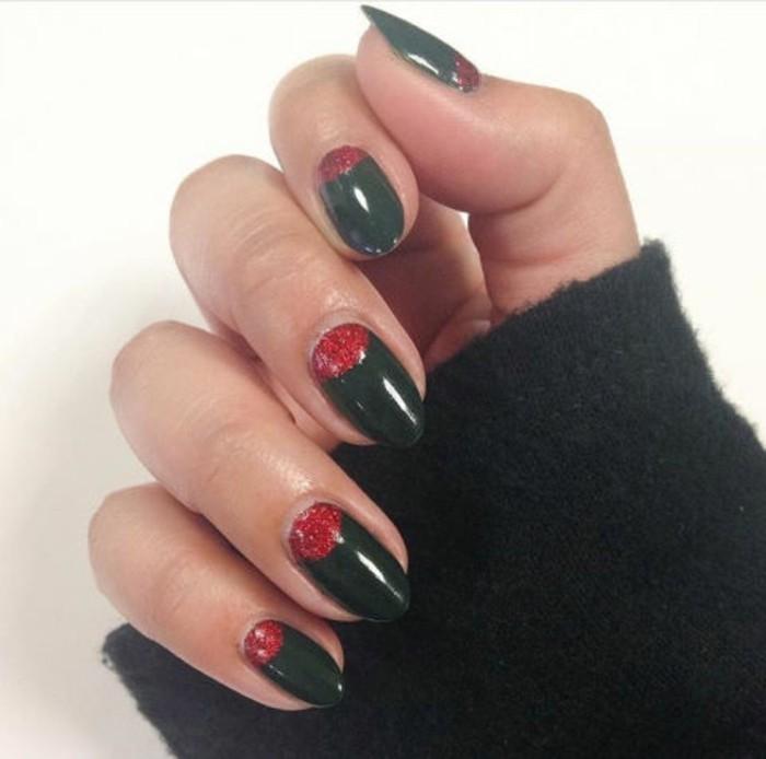 ongles-de-noel-idee-manucure-facile-model-nail-art-facile-noir-et-rouge