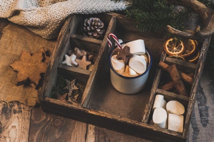 créer une ambiance cozy pour Noël avec cookies et tasse de chocolat chaud, idée décoration chocolat chaud maison