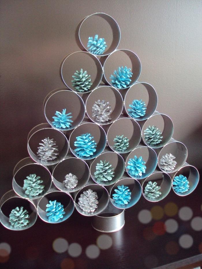 que peut on faire avec des pommes de pin, idée bricolage de Noel facile, faire une déco sapin de Noël avec pommes de pin colorées