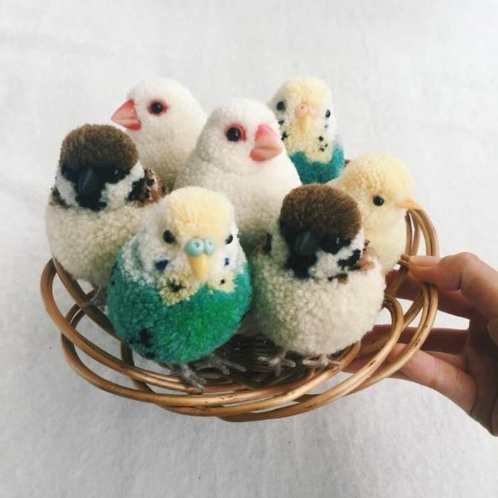 pompon-fourchette-petits-oiseaux-decoratifs
