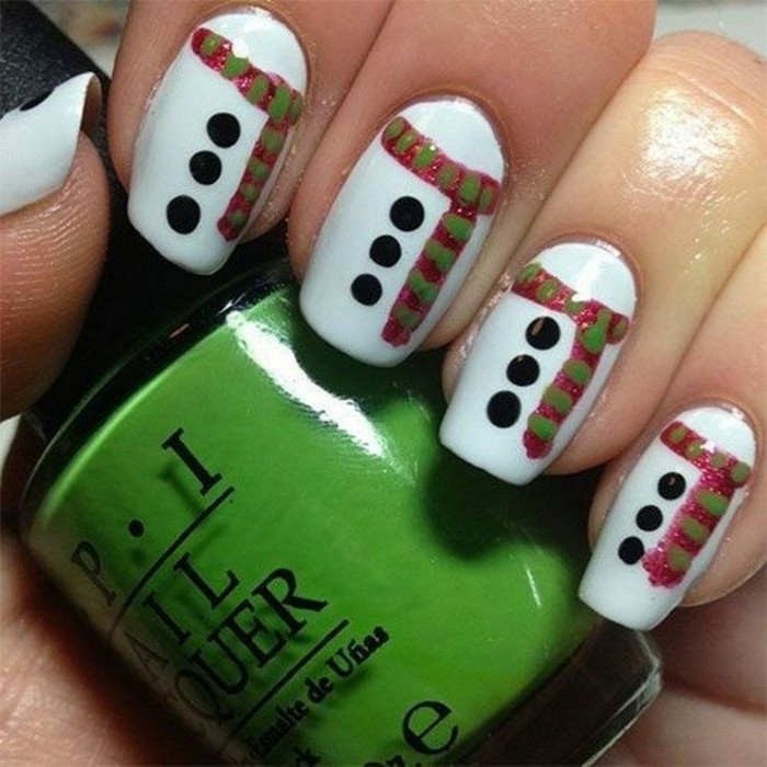 ravissant-modele-nail-art-manucure-noel-festive-bonhomme-de-neige