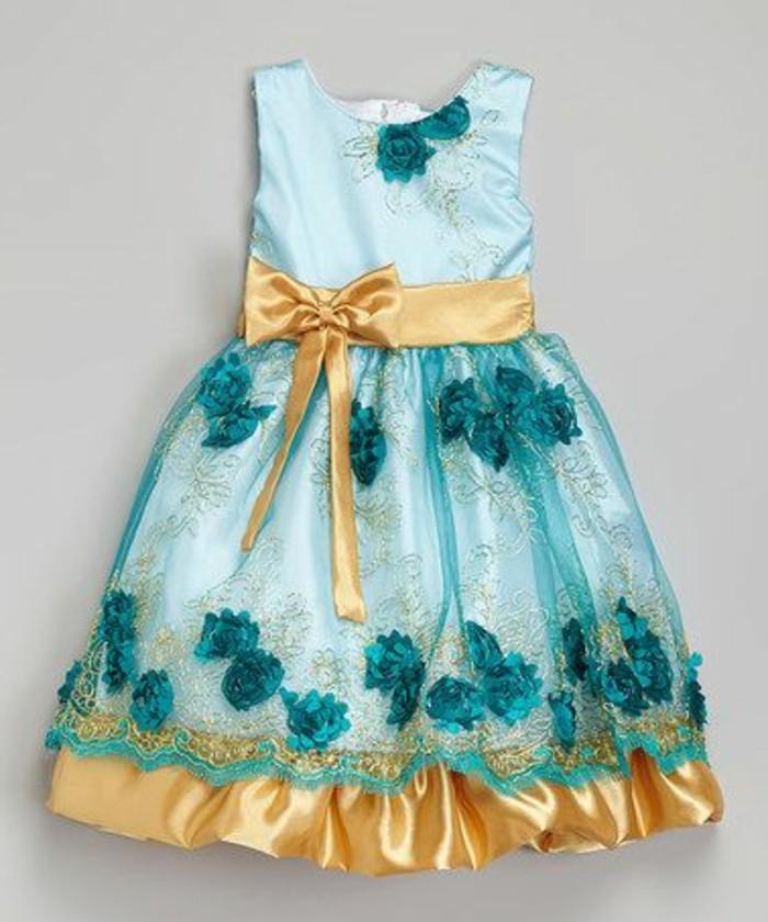 robe-petite-fille-robe-en-bleu-et-dore-petite-robe-princesse