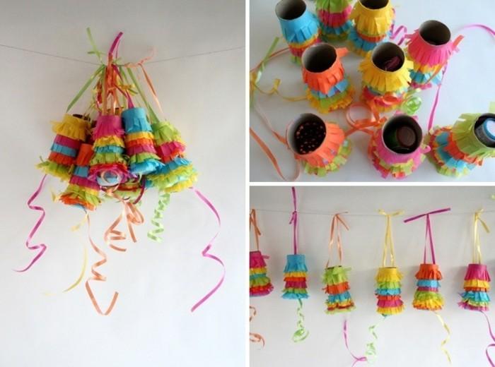rouleaux-papier-de-toilette-transforme-en-petites-pinata-multicolores-decorees-de-papier-multicolores-et-remplies-de-sucreries-fabriquer-une-pinata