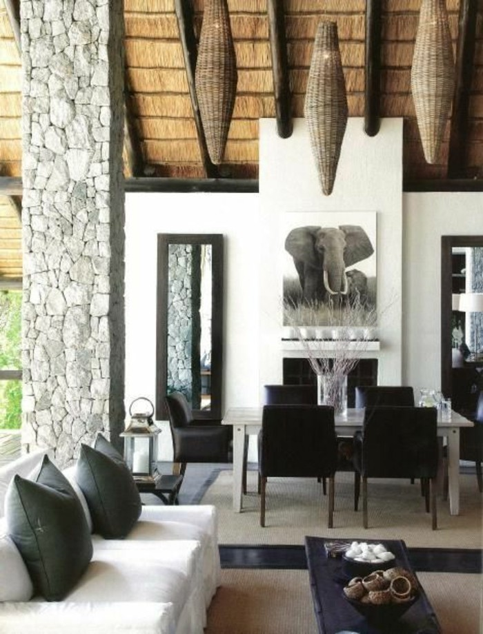 stickers-afrique-elephant-coussins-gris-canape-blanc-colonne-en-pierre