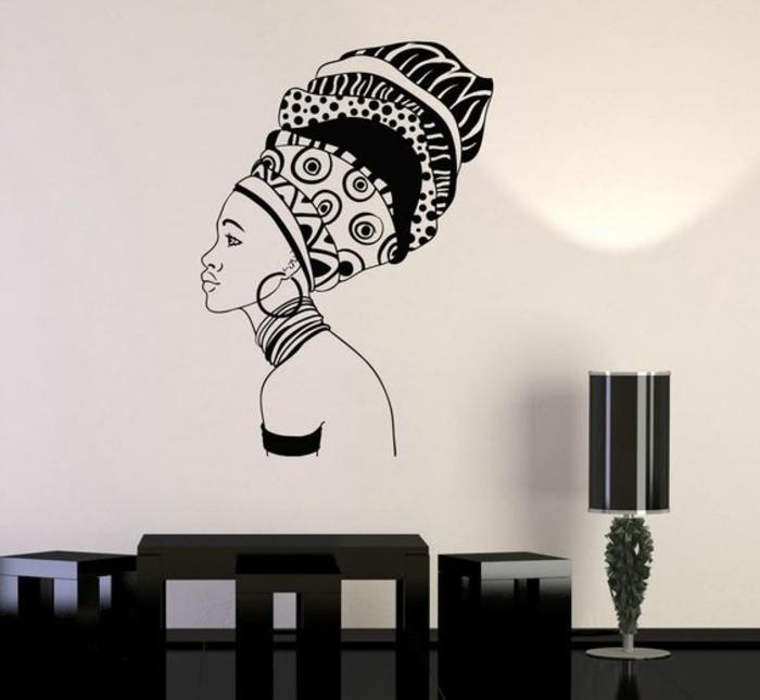 stickers-afrique-femme-africaine-lampe-meuble-en-noir