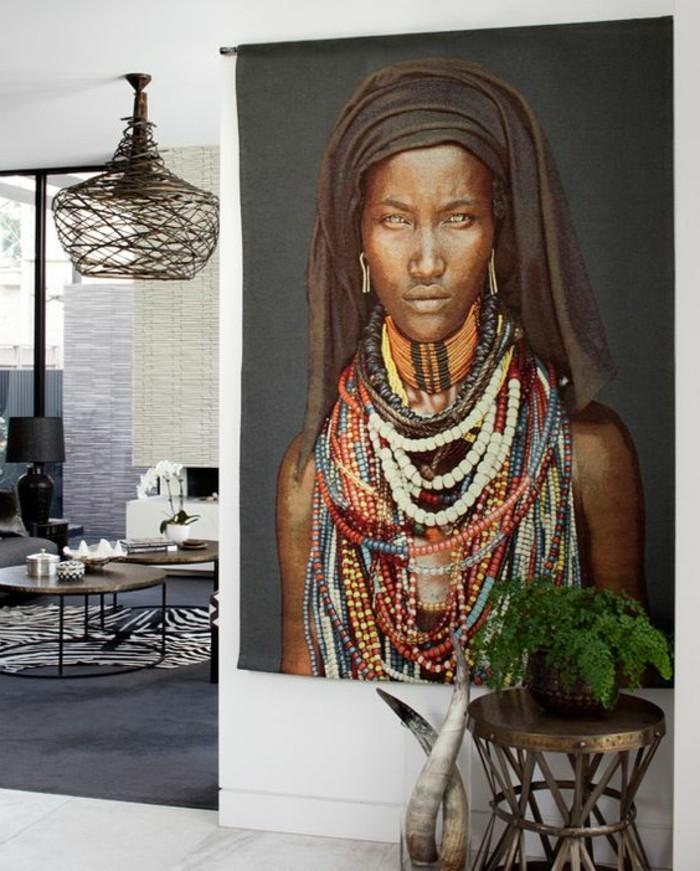 stickers-afrique-femme-belle-cornes-decoratifs-plante-lustre