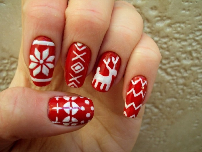 Ongles Noel 2017 Rouge