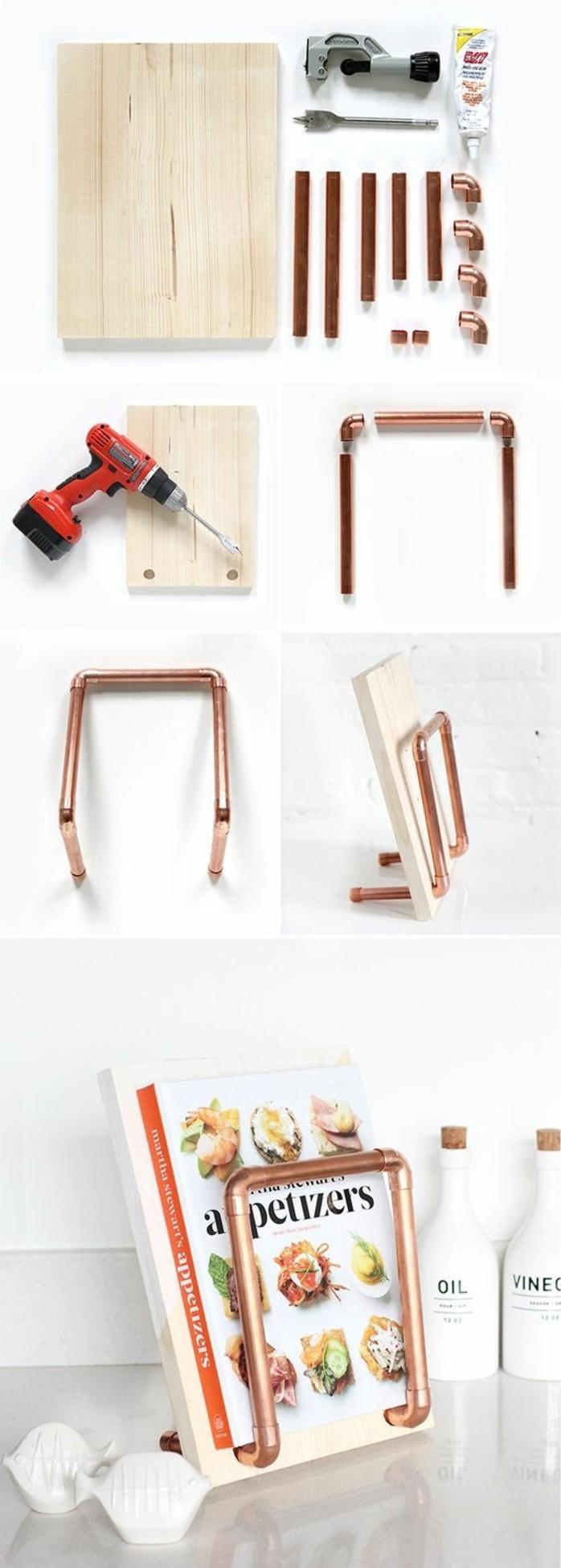 50 id es pour int grer le tube de cuivre dans votre d cor for Support livre de cuisine