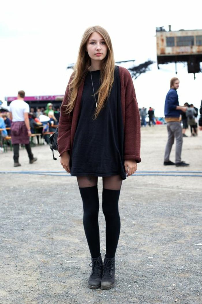 tenue-grunge-mode-chaussette-haute