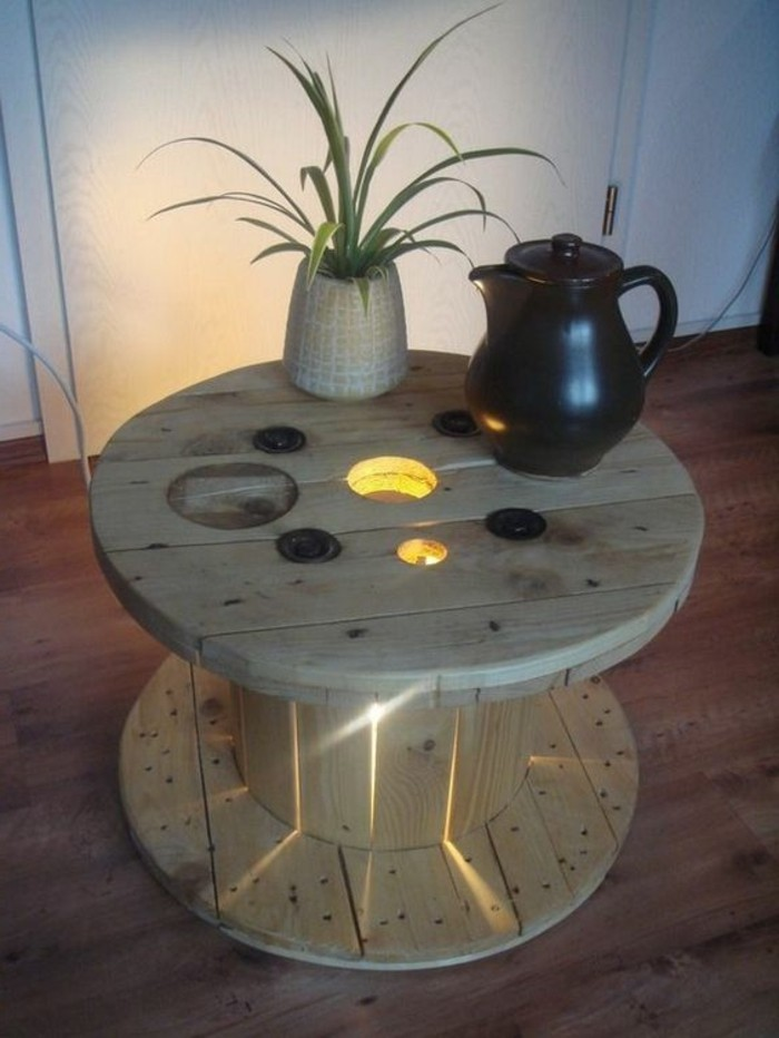 1001 id es que faire avec un touret des inspirations r cup - Customiser table en verre ...