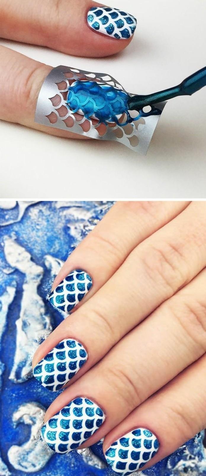 tuto-nail-art-facile-bleu-et-blanc-estampage-motifs-aquatiques