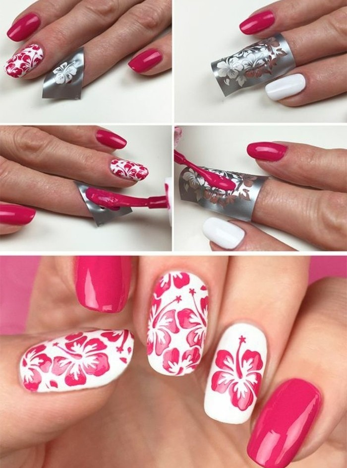 tuto-nail-art-facile-motifs-floraux-art-estampage-rose-et-blanc-feminine