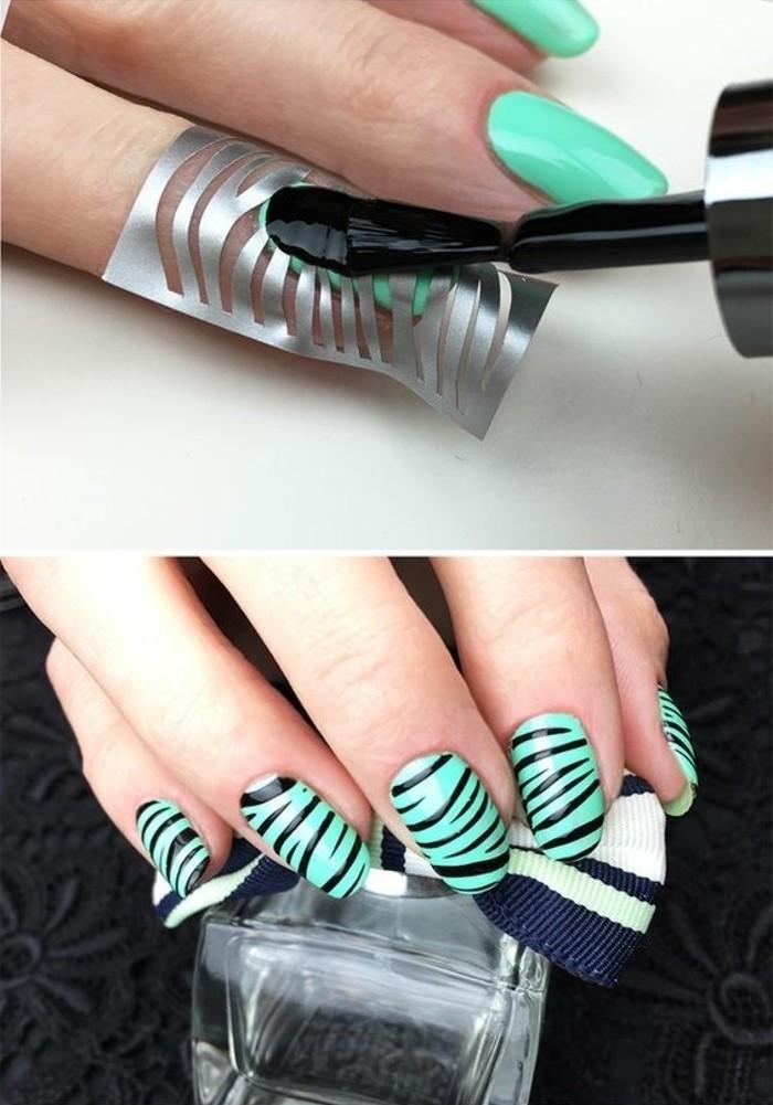 tuto-nail-art-facile-motifs-zebre-couleurs-clair-vert-noir-echantillon