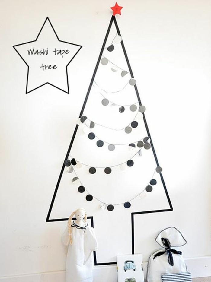 un-sapin-de-noel-constitue-de-papier-washi-applique-sur-le-mur-idee-originale-que-faire-avec-du-masking-tape