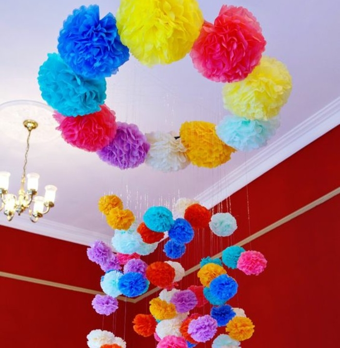 Fabriquer une fleur en papier de soie 67 id es diy remarquables - Fabriquer suspension papier ...