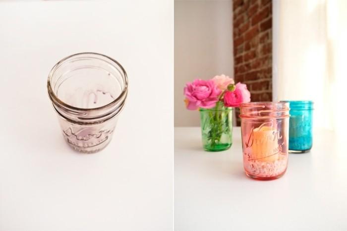 1que-faire-avec-des-pots-de-yaourt-en-verre-bougeoir-vase-fleurs-fraîches-en-rose-et-orange