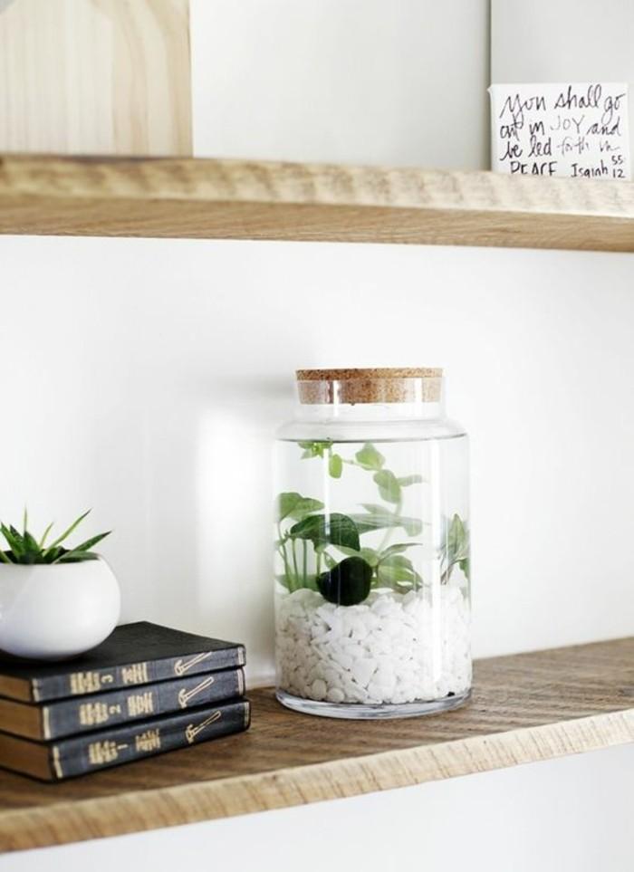 1que-faire-avec-des-pots-de-yaourt-en-verre-livres-vase-plantes-vertes-étagère-en-bois