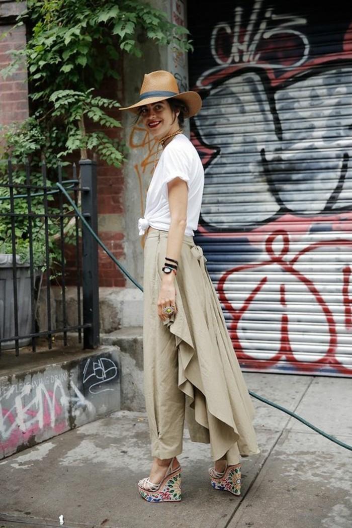 1quoi-mettre-avec-un-pantalon-kaki-vision-chic-avec-un-chapeau-marron-et-sandales-colorés