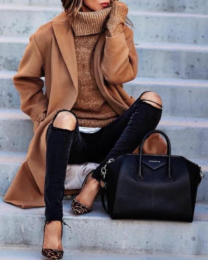 adorable-tenue-beige-idée-tenue-comment-savoir-s-habiller-tenue-hiver-noire