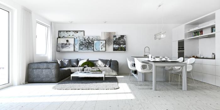 amenagement-petit-espace-canape-angle-voiles-blanches-tapis-gris-peinture-cuisine-equipee