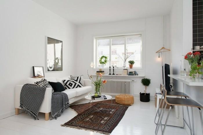 amenagement-petit-espace-canape-confortable-coussins-en-motifs-geometriques-tapis-ethnique
