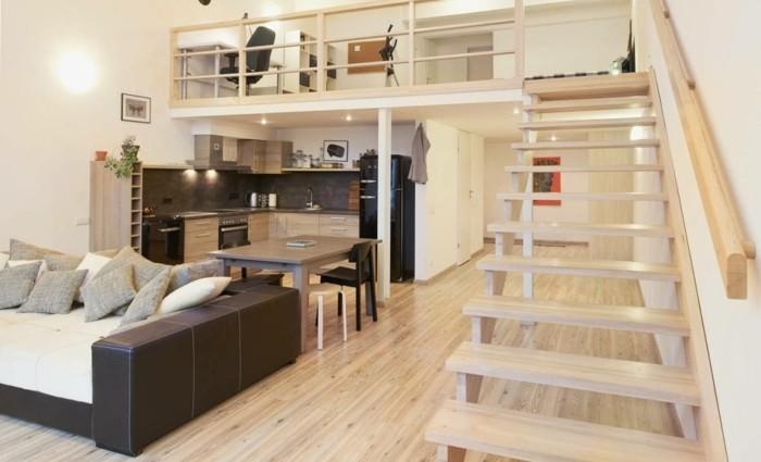 amenagement-petit-espace-canape-lit-superpose-escalier-cuisine-moderne