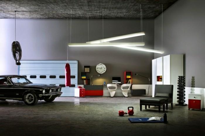 amenager-un-garage-en-chambre-design-moderne-voiture-noire