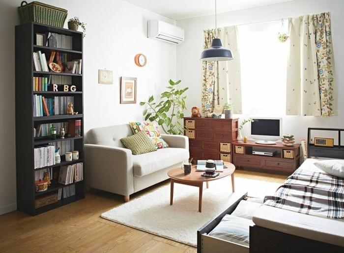 amenager-un-petit-appartement-atmopshere-acceuillante-bibliotheque-compacte
