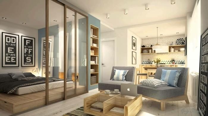 amenager-un-petit-appartement-cuisine-claire-coin-de-repos-chambre-a-coucher