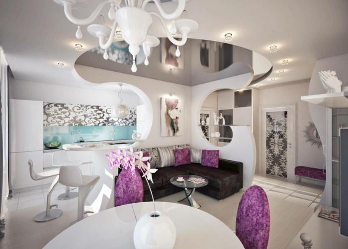 amenager-un-petit-appartement-design-chic-en-blanc-et-violet-peinture-motifs-floraux