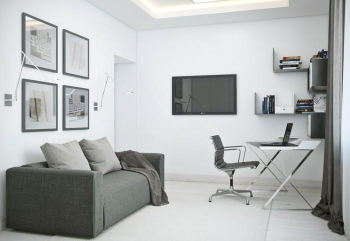 amenager-un-petit-appartement-design-moderne-en-blanc-et-gris-mobilier-classique